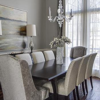 Sheer Gray Dining Room Curtains Design Ideas