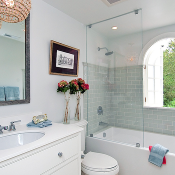 Blue Subway Tile View Full Size Eclectic Bathroom With Soft Walls Featuring A Glass Shower Partition Drop In Tub