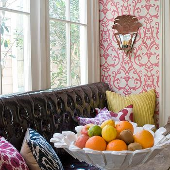 Leather Tufted Banquette, Eclectic, dining room, MMR Interiors
