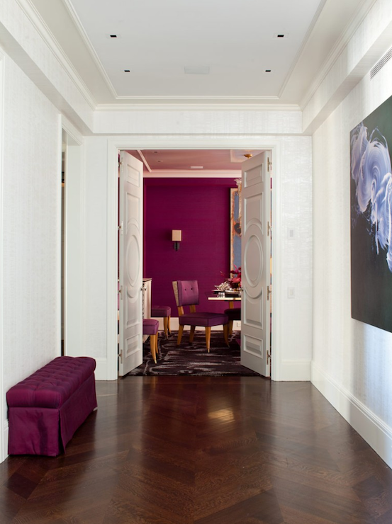 Glam Foyer With Crisp White Walls And Tray Ceiling Recessed Lighting Featuring An Incredible Fuchsia Tufted Bench Skirt Upon Herringbone