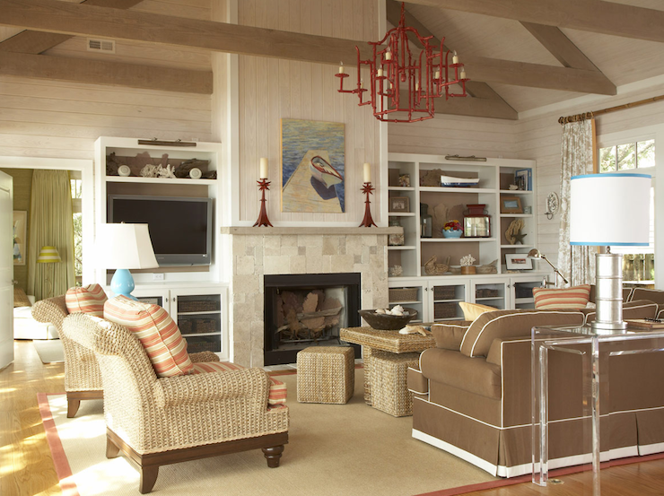 Pagoda chandelier cottage living room amanda nisbet for How to decorate living room with fireplace