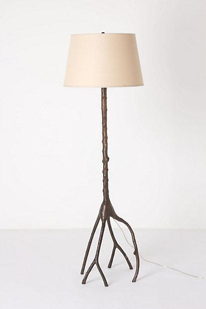 Oak Metal Branch Floor Lamp