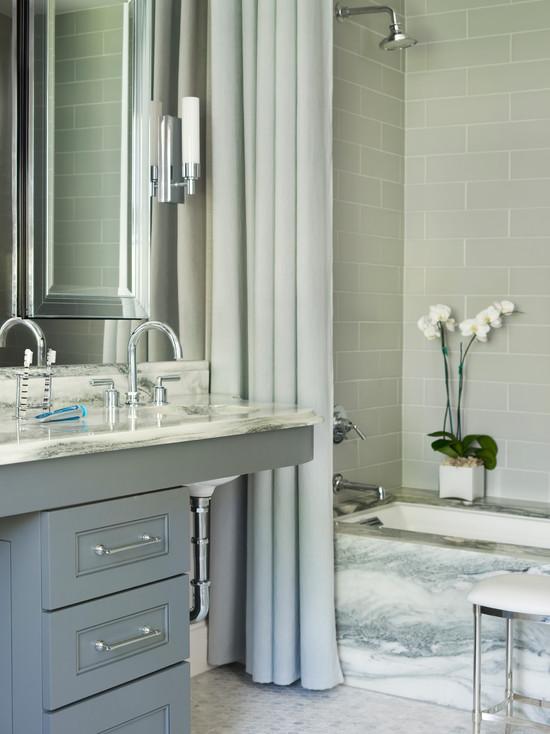 Gray Brick Tile Shower Surround Contemporary Bathroom Mark