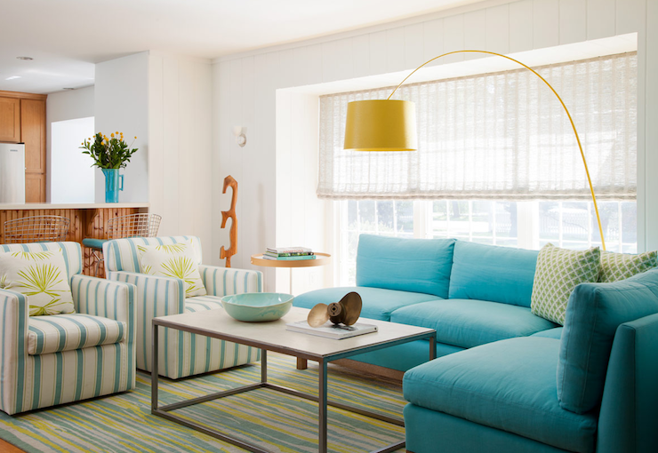 Turquoise Blue Sofa Cottage Living Room Sherwin
