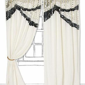 Ribbon Trim Panel With Grommet Top Ivory With Black Trim