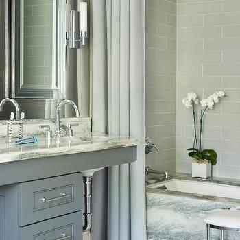 Gray Brick Tile Shower Surround, Contemporary, bathroom, Mark Williams Design