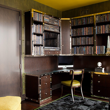 Built in office desk transitional den library office for Bureau adolescent