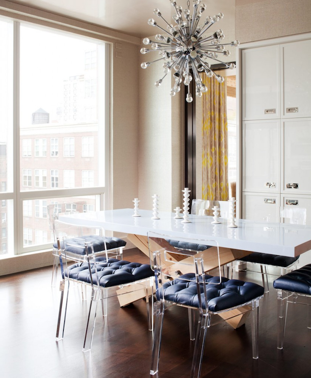 Lucite Chairs Modern Dining Room Amanda Nisbet Design