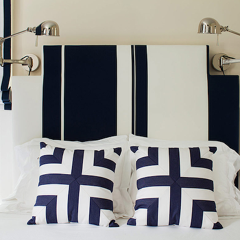 Navy Blue Mitered Pillow with White Channel Tufted Headboard ...