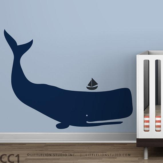 Kids Whale Wall Decal Navy Blue By Leolittlelion On Etsy