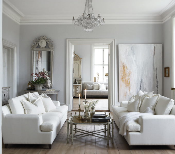 White And Gray Living Room French Slettvoll