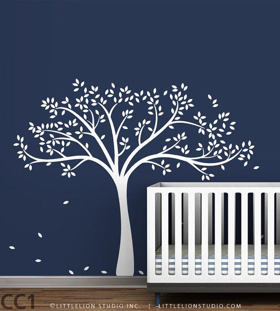 Kids White Tree Wall Decal By Leolittlelion On Etsy