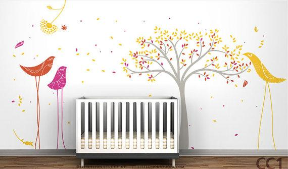 Tree U0026 Birds Mural Wall Decal By LeoLittleLion On Etsy Part 4