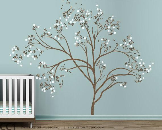 Kids wall decal cherry blossom wall by leolittlelion on etsy for Cherry blossom tree mural