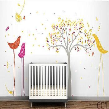 Tree u0026 Birds Mural Wall Decal by LeoLittleLion on Etsy