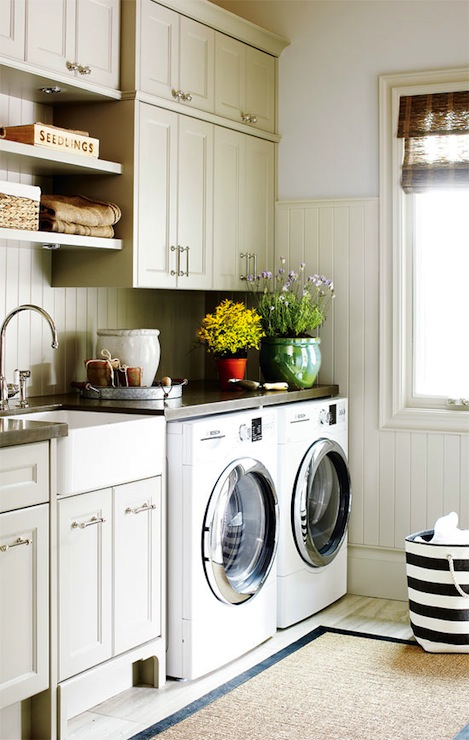 Laundry Room Beadboard Backsplash - Cottage - laundry room - Style at Home