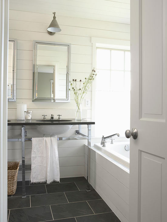 Slate floor bathroom cottage bathroom bhg for What kind of paint to use on kitchen cabinets for unique framed wall art