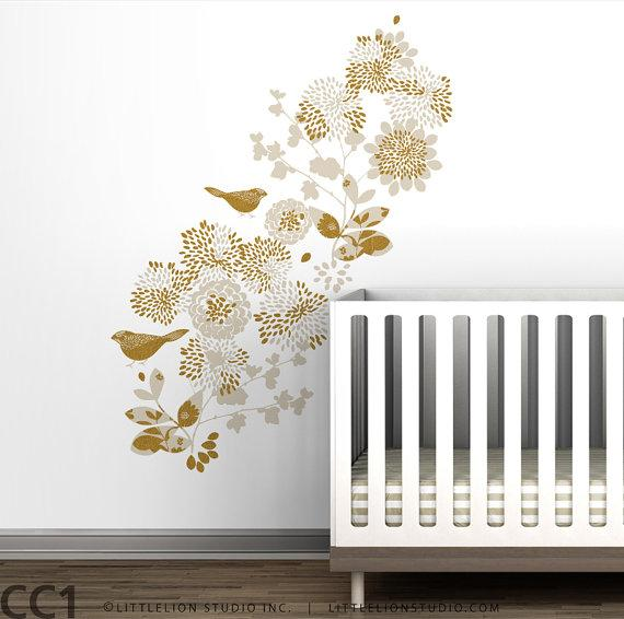 Kids wall decal flowers gold mural by leolittlelion on etsy for Gold wall art
