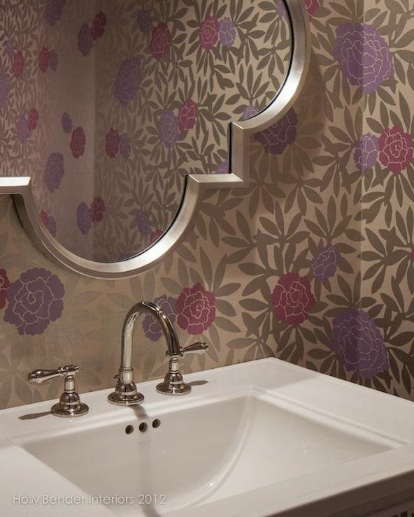 Silver quatrefoil mirror contemporary bathroom holly for Quatrefoil bathroom decor