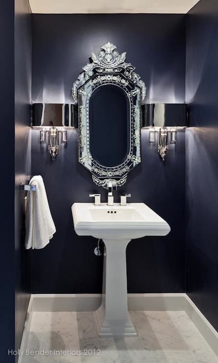 Navy blue bathroom contemporary bathroom holly for Navy and white bathroom accessories