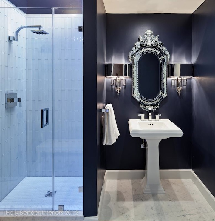 Polished nickel bathroom mirrors - Navy Bathroom Contemporary Bathroom Holly Bender Interiors