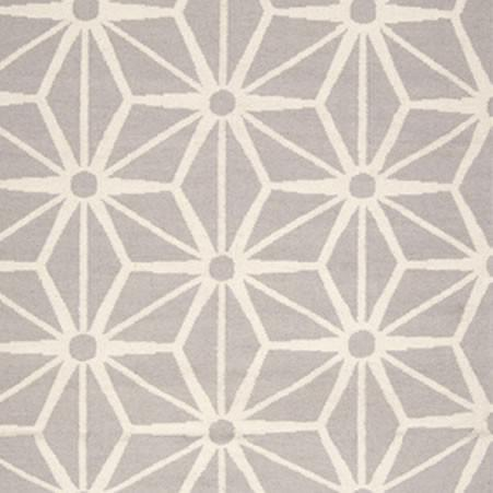 Flat Weave Geometric Pattern Grey Ivory Wool Area Rug