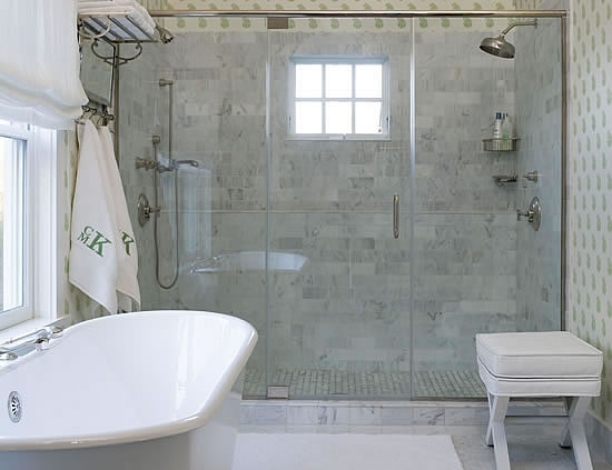 Carrara Marble Shower Traditional Bathroom Meg Braff