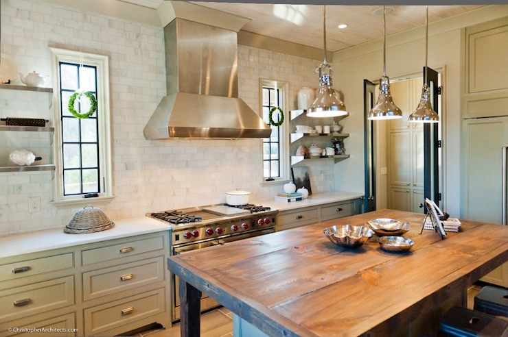 White Country Kitchen With Butcher Block rustic butcher block kitchen island - country - kitchen