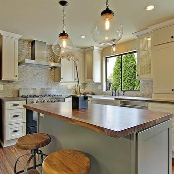White Kitchen Island With Walnut Butcher Block Countertop : Walnut Butcher Block Countertop - Transitional - kitchen - BHG