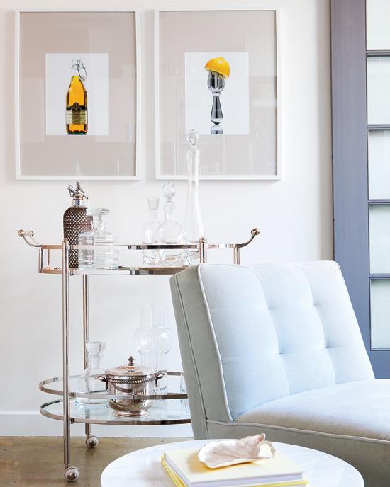 Art Deco Living Room With Clic Cream Walls Holding Fun Bar Vintage Through Photography