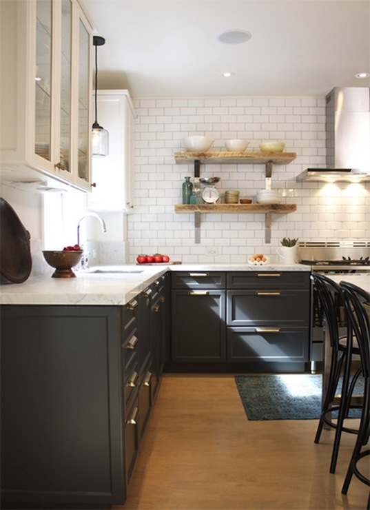 Charcoal gray cabinets vintage kitchen house home for Charcoal painted kitchen cabinets