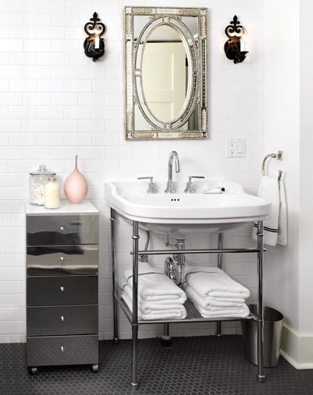 Pink and black bathroom hollywood regency bathroom for Black white and pink bathroom ideas
