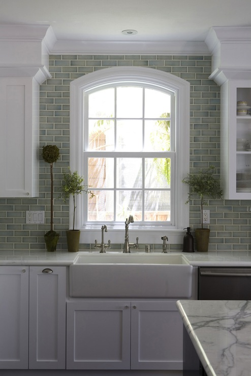 Gray Brick Backsplash Mesmerizing Green Brick Backsplash Tiles  Transitional  Kitchen  Fiorella Inspiration Design