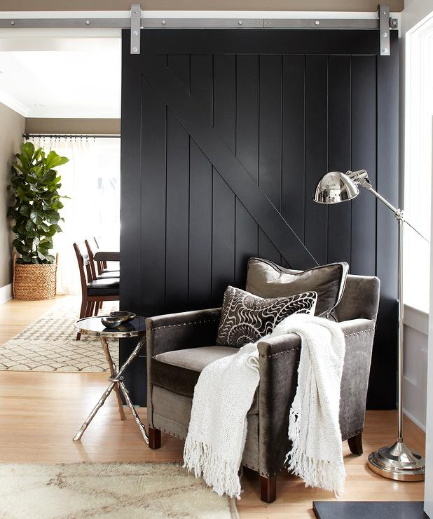 Black Sliding Barn Door Contemporary Living Room