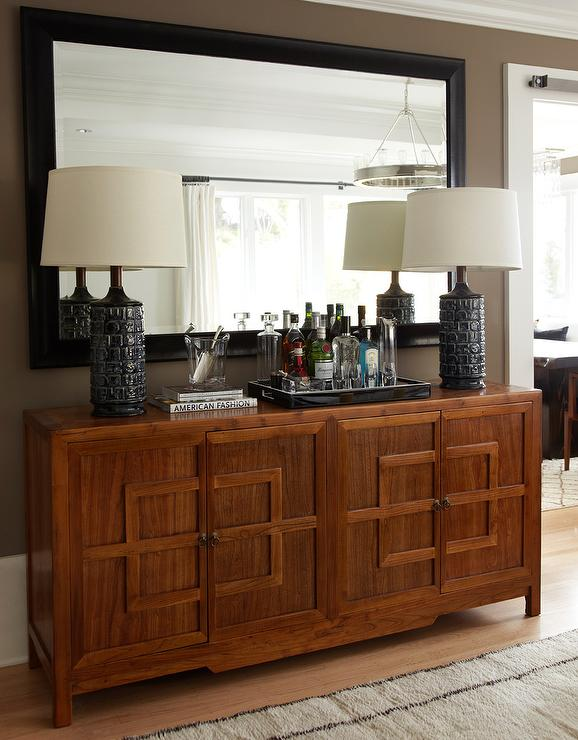 foyer with mirrored credenza design ideas. Black Bedroom Furniture Sets. Home Design Ideas