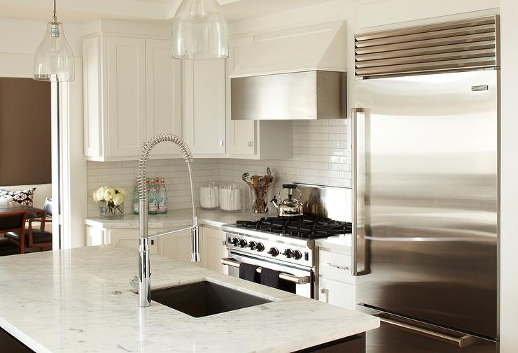 White Marble Kitchen Island Sink With Grohe Faucet