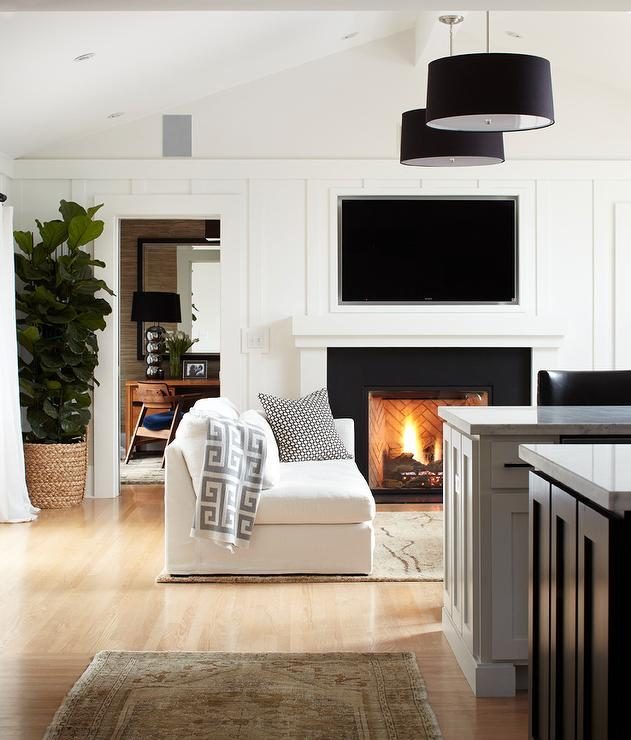 Bright White Fireplace Contemporary Living Room: Fireplace TV Niche In White Living Room