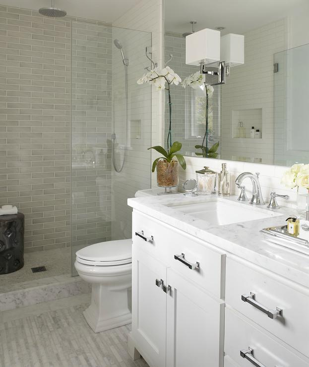 White Carrara Marble Countertops Contemporary Bathroom