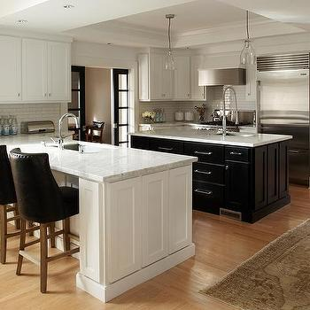 Kitchen with Island and Peninsula, Contemporary, kitchen, Benjamin Moore Super White, Urrutia Design