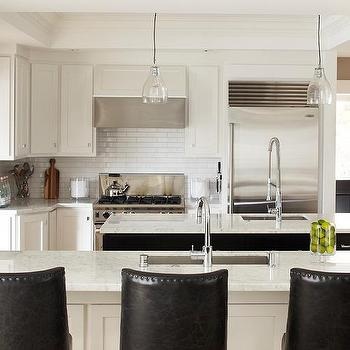 White and Black KItchen Design, Contemporary, kitchen, Benjamin Moore Super White, Urrutia Design