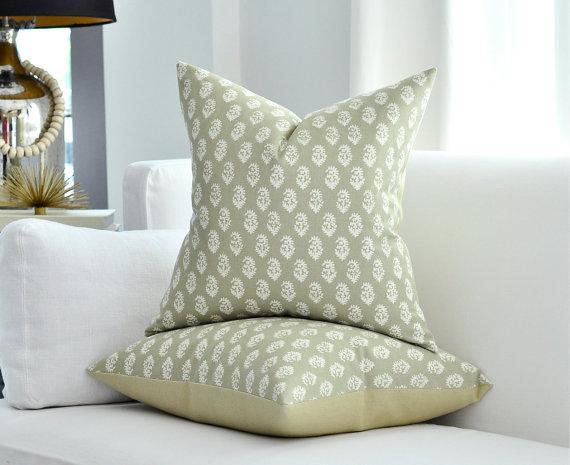 Peter Dunham Rajmata Taupe Paisley Pillow