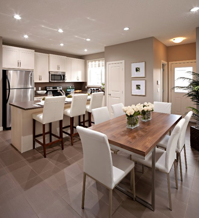 stunning open plan kitchen and dining room with mocha walls and
