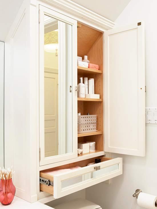Mirrored doors transitional bathroom bhg - Bathroom storage mirrored cabinet ...