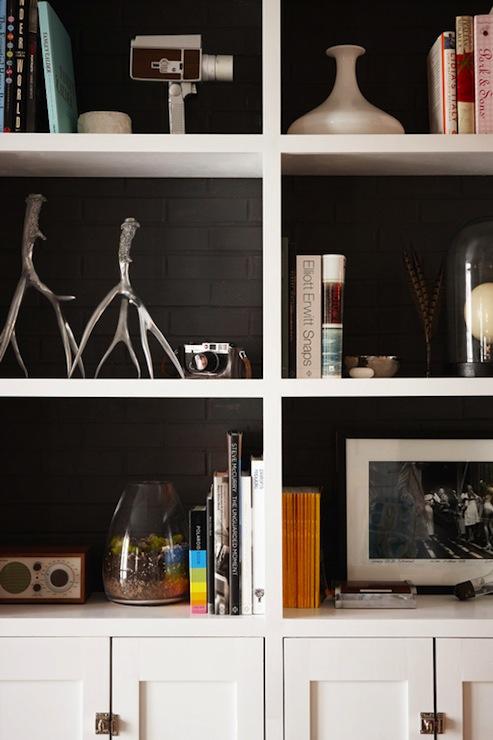 Black Brick Tile Backsplash Contemporary Living Room