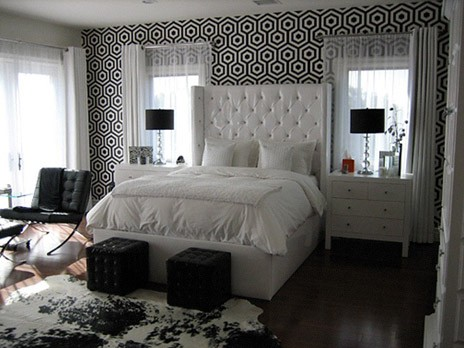 Black and White Bedroom - Contemporary - bedroom - Walnut ...