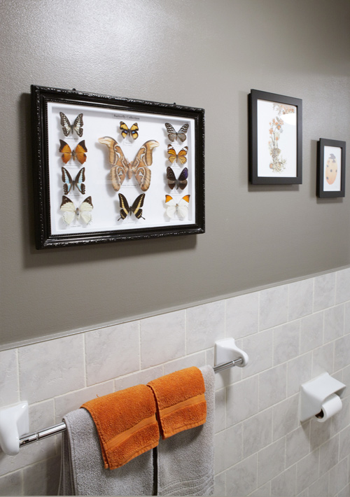Gray and orange bathroom design ideas for Orange and grey bathroom accessories
