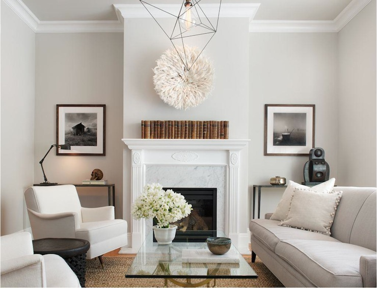 Ordinaire Grand Alcove Design In Gray Living Room With Modern Chandelier Featuring  White Cameroon Juju Hat Hanging Above An Incredible Marble Fireplace.