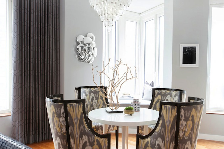 View Full Size Stunning Gray Dining Room Design With Multiple Windows Drapes