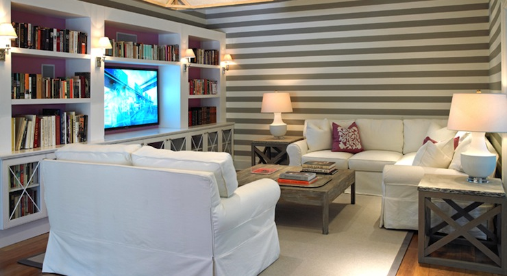 White And Gray Striped Walls Cottage Living Room