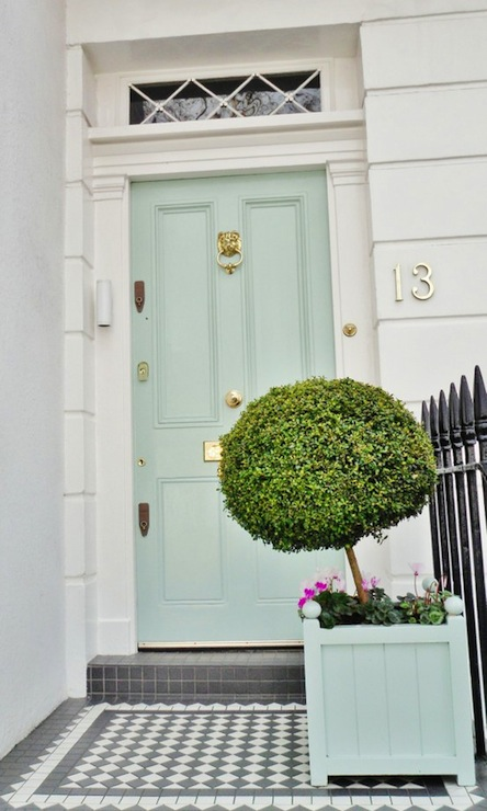 Seafoam Green Front Door French Home Exterior